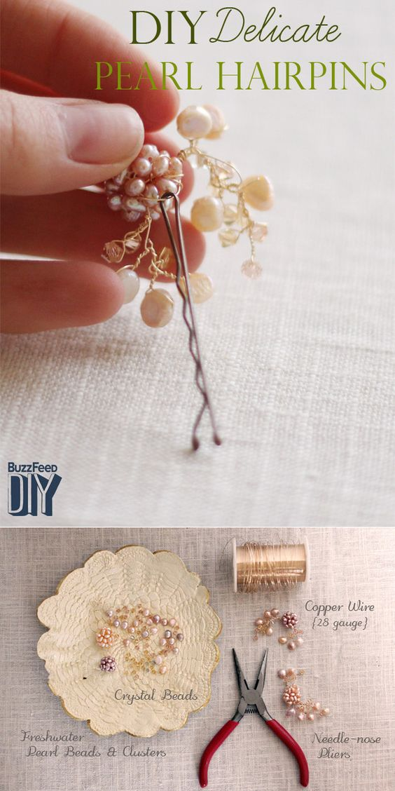5 Headpieces That Will Make You Feel Beautiful On Your Big Day {DIY Pretty Pearl Hair Pins}  | BuzzFeed