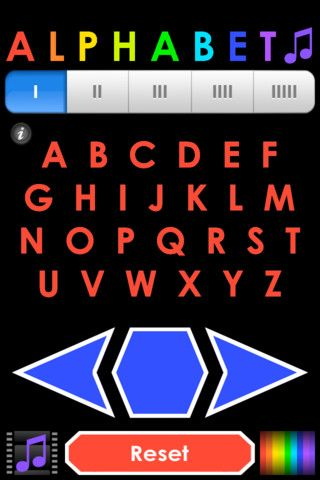 Alphabet♫ ($0.99) Plus, play and learn with five sets of alphabet sounds and kid-friendly controls. Just tap the arrows to go forwards, backwards, or repeat each sound. It's simple and fun!    Sound Sets:  I - Letter Names  II - Letter Sounds (Phonics)  III - Robot Voice  IIII - Mouse Voice  IIIII - Singing Voice    Choose from a rainbow of colors by tapping the color button.