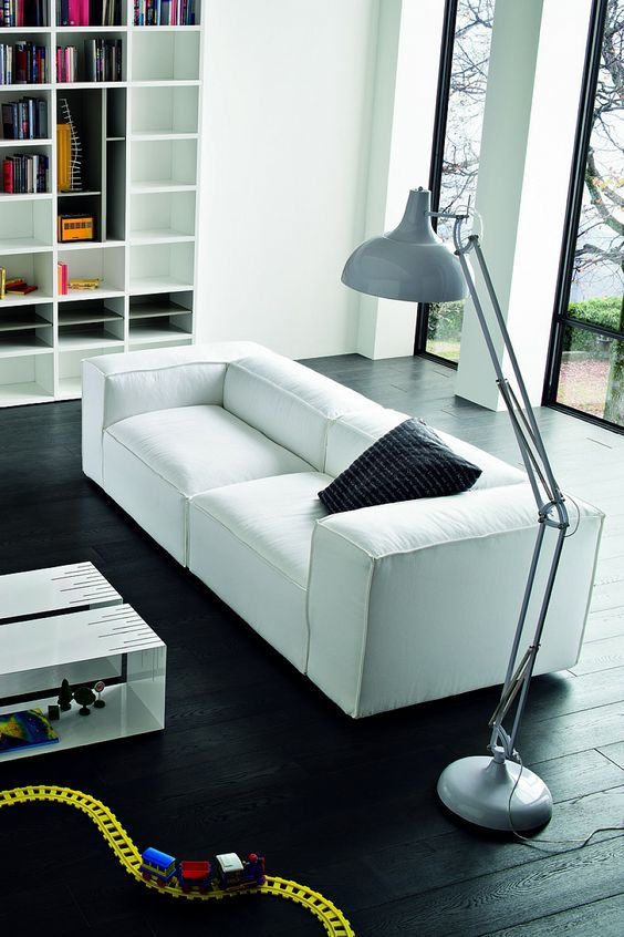 contemporary and modern white sofa for lavish living room by