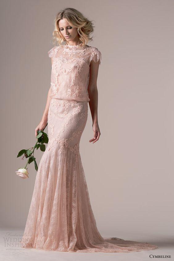 cymbeline bridal 2015 iphigenie rose pink lace wedding dress ...