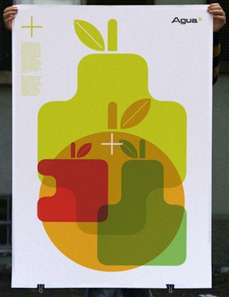 Promotional poster for a drinks brand, by Robert Murdock / Postmammal. See original http://cargocollective.com/postmammal/Agua