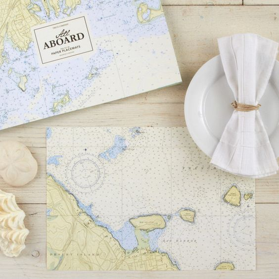 All Aboard Set of 48 Nautical Placemats DIY laminate nautical chart rectangles