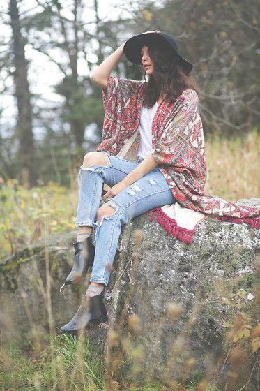 Julia Monson - Topshop Hat, Ecote Poncho/Sweater, The Free Island Boyfriend Jeans - Farewell fall