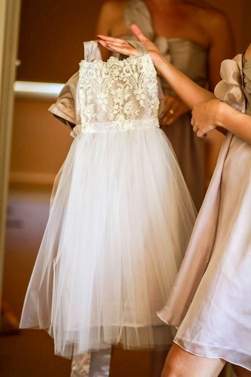 Flower girl dress with lace and tulle