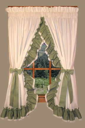 ruffled country curtains with lace edging | Window and Curtains ...