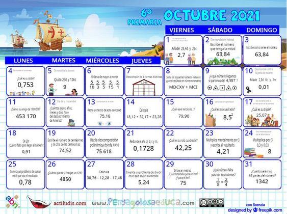 Calendario Sexto ABN – Octubre 2021