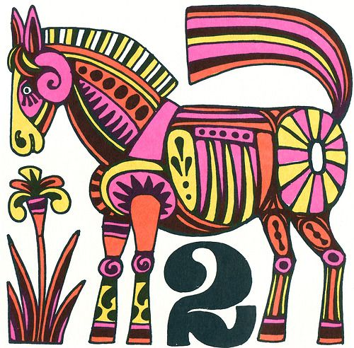 Horse with number two from John Alcorn, Fireside Book of Children's Songs, 1969. That wraps up the Alcorn for now… If you see the book, snag it. Amazon has some used ones.