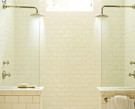: Showerhead, Subway Tile, Bathroom Idea, Bathroom Shower, House Idea, Half Wall, Double Shower Head