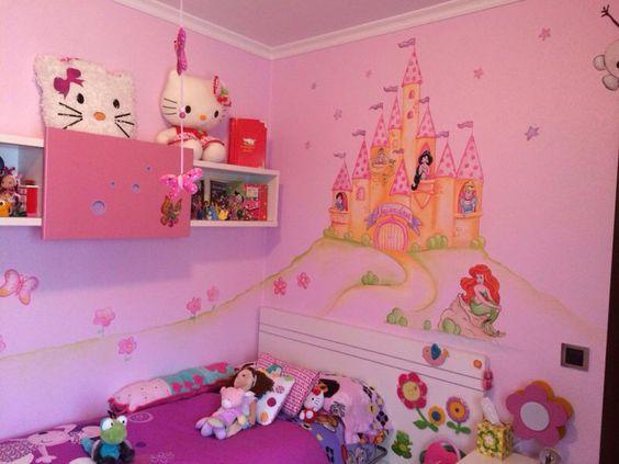 castillo de princesas para habitacion infantil murales