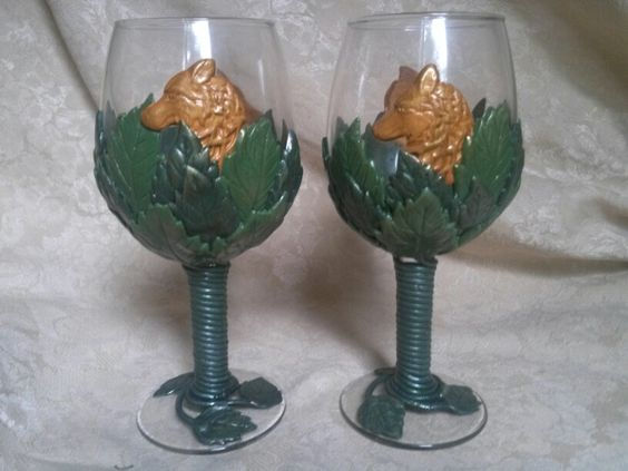Polymer clay wolf wine glasses