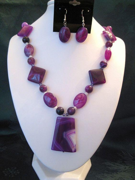 Violet Striped Agate Necklace Set