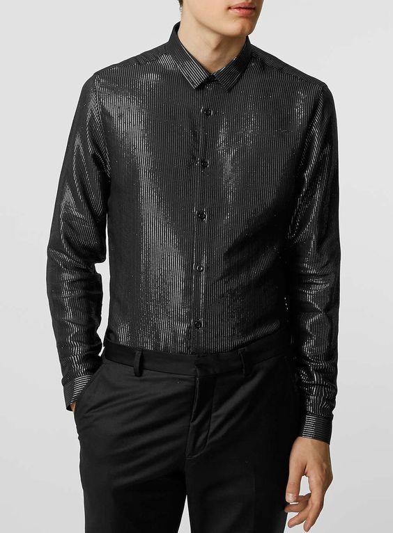 Black/Silver Long Sleeve Smart Shirt