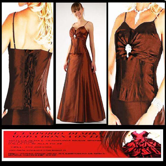 #plussize #curvy #taglieforti   Abito elegante cerimonia Donna Sera Sposa con stola Marrone tg.52 54 56 xxl