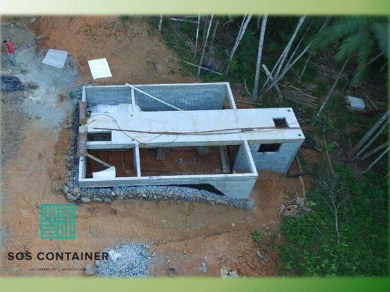 Fundação para o sobrado container: