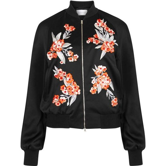 Womens Bomber Jackets Jonathan Saunders Cecily Black Embroidered Satin... (891.860 CLP) ❤ liked on Polyvore featuring outerwear, jackets, coats & jackets, black, bomber, zip jacket, embroidered bomber jacket, zipper jacket, flight bomber jacket and flight jacket