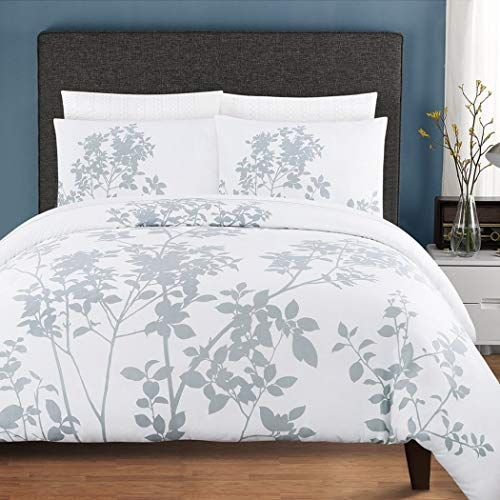 2 Piece Gray Modern Floral Twin Size Duvet Cover Set Beautiful Leafy White Grey Flowers Spring Theme Bedding Gorgeous Vibrant Embroidery Color Whimsy Trendy