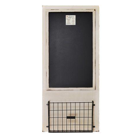 "Distressed Wood Framed Chalkboard with Metal Basket 18"" x 40"" – lightaccents.com"