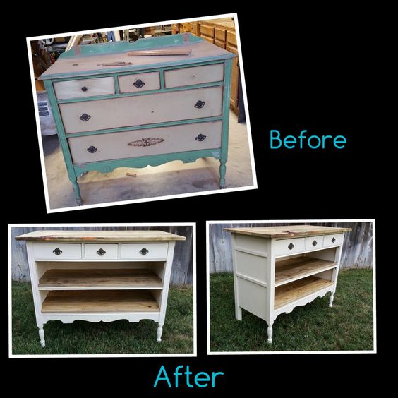 Kitchen Island Made From Antique Buffet: We Repurposed This 1930's Dresser Into A Buffet / Kitchen Island. Top And Shelves Are Made From