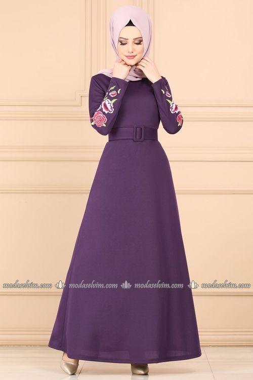 Modaselvim Elbise Cicek Nakisli Tesettur Elbise Ukb5037 Acik Mor Colorful Dresses Hijab Fashionista Pakistani Fashion