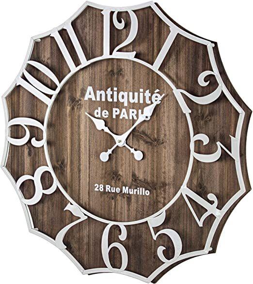 American Art Decor Antiquite De Paris 28 Rue Murillo Wood And Metal Oversized Vintage Wall Clock 27 Rdquo Vintage Wall Clock Oversized Wall Clock Wall Clock
