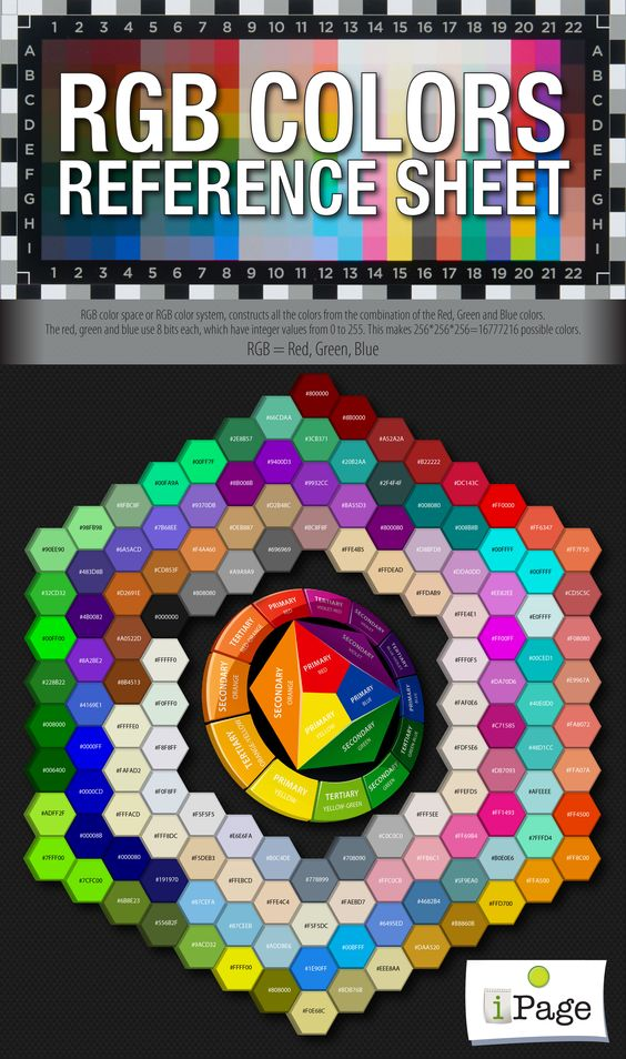 RGB Colors Reference Sheet