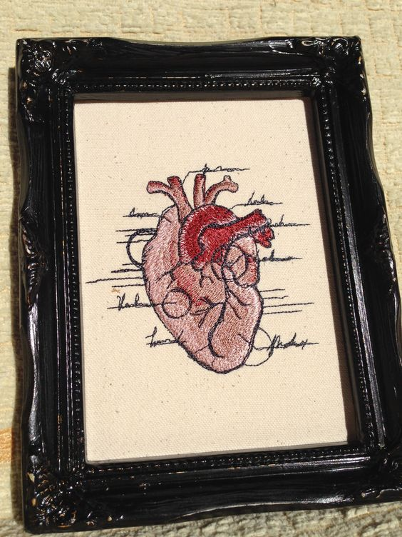embroidered anatomical heart
