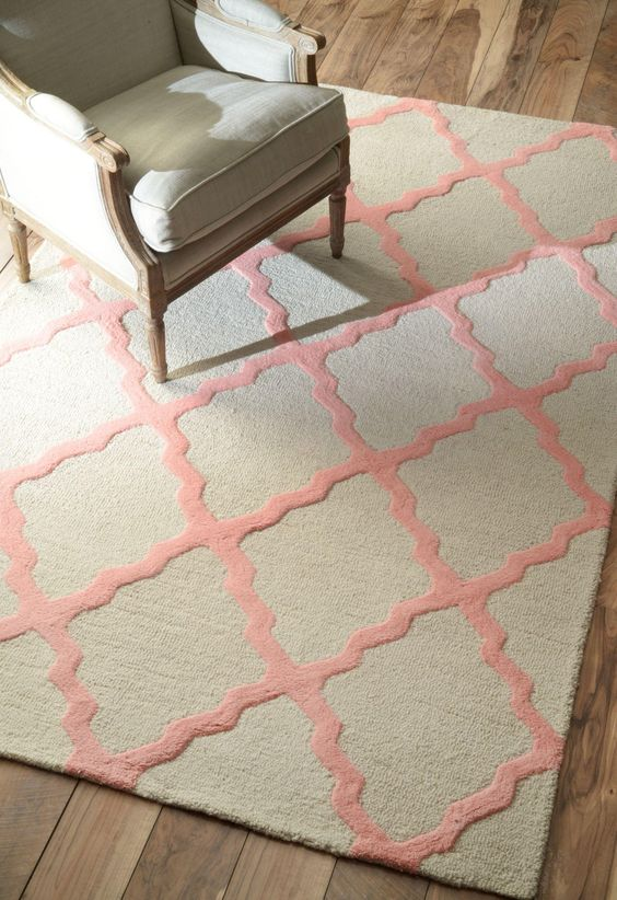 How to Decorate with Pantone's Rose Quartz and Serenity - Homespun Moroccan Trellis Rug; $24–$711; at Rugs USA: