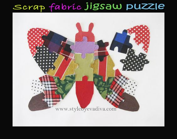 How to make a Scrap fabric jigsaw puzzle by http://www.stylebyevadiva.com/2012/01/scrap-fabric-jigsaw-puzzle.html