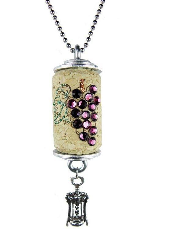 Wine cork necklace wine cork for Cork necklace ideas