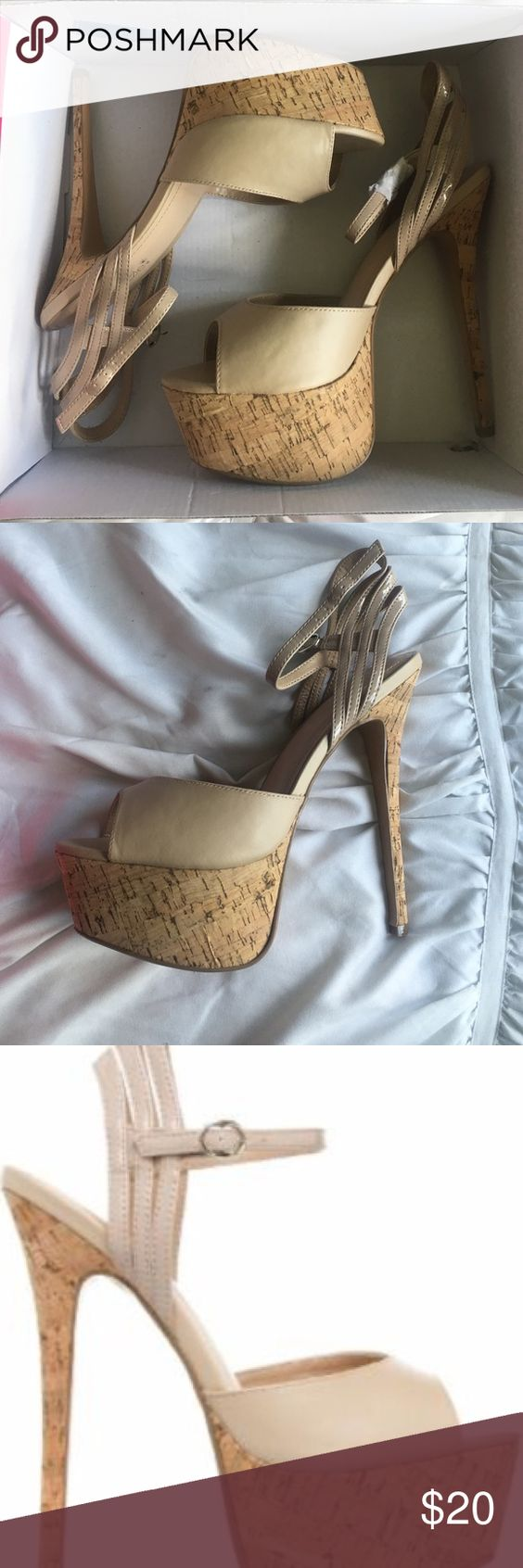 Franny Shoe Dazzle Heel Beautiful tan colored shoe with cork heel and platform! Never worn! Size 9. Shoe Dazzle Shoes