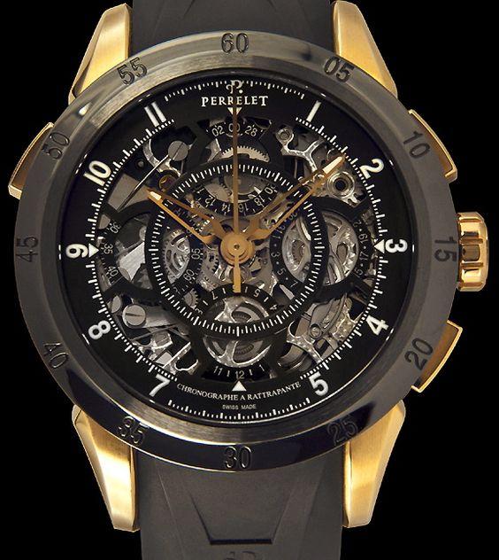 Zwitsers18Krt gouden Perrelet horloge met automaat chronograaf rattrapante uurwerk . Deze mooie skelet horloge kan van U zijn voor € 18950,- andere perrelet goud is een limited edition met 1000 stuks wereldwijd.  www.juweelco.nl