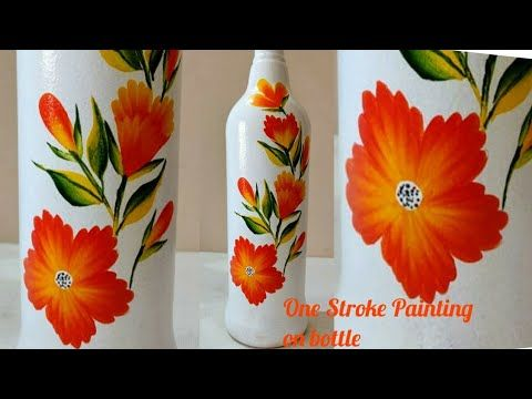One Stroke Painting On Bottle Malayalam Craft Tutorial One Stroke Painting For Beginners Youtube In 2020 Bottle Painting One Stroke Painting Bottles Decoration
