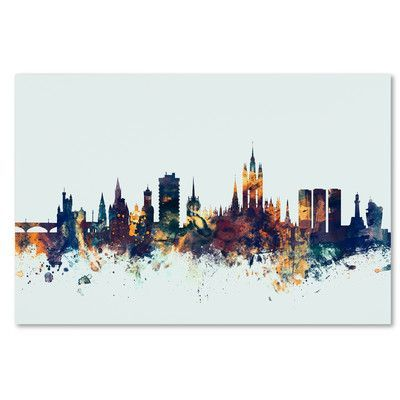 Latitude Run Aberdeen Scotland Skyline Blue Graphic Art on Wrapped Canvas Size:
