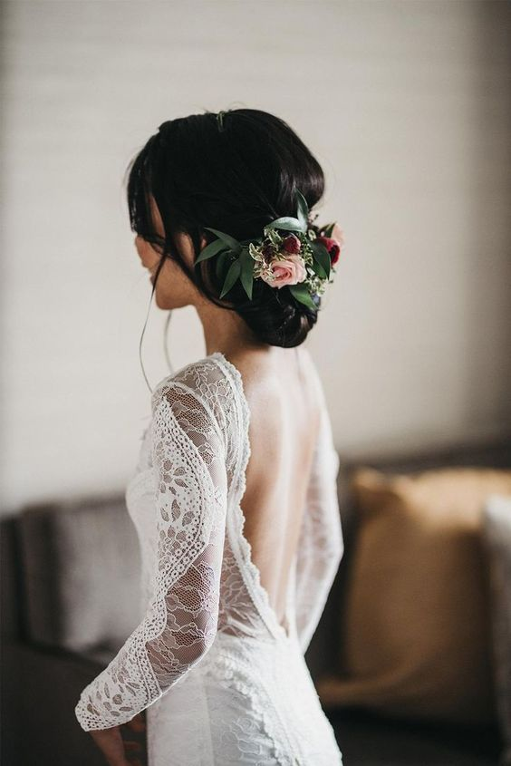 Bohemian Long Sleeve Open Back Wedding Dress &Bridal Gown | Flosluna – FlosLun...
