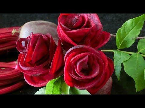 Art In Beetroot Rose Flower | Vegetable Carving Garnish | Roses Garnish ...