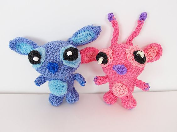 Stitch and Angel from Lilo and Stitch Rainbow Loom Bands Amigurumi Loomi...