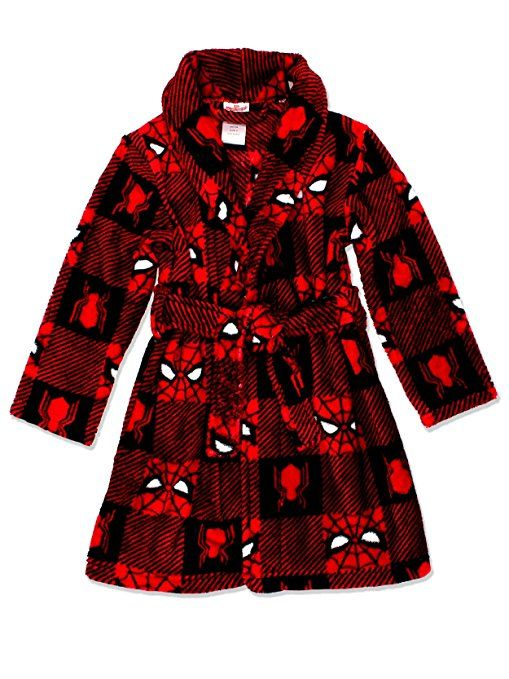 New Marvel Comics Spiderman Boys Soft Robe Bathrobe Sleepwear Nightwear Red 3-8T
