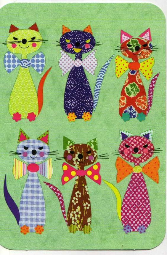 cats in bow-ties...very cute and shouldn't be too hard to draw your own pattern!: