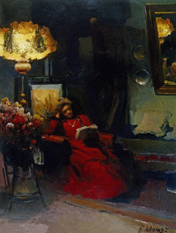 Левченко. Женщина в красном платье