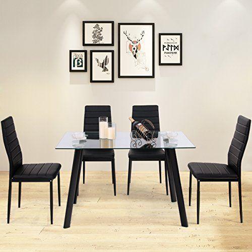 Tavolo Cucina 4 Sedie.Tangkula Dining Table Set 5 Pieces Modern Glass Top Ad 1 Set