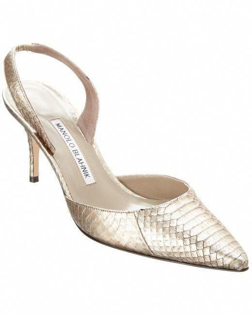 0f5703eca157 Manolo Blahnik - Gray Carolyne Gal 70 Watersnake Leather Pump - Lyst   ManoloBlahnik