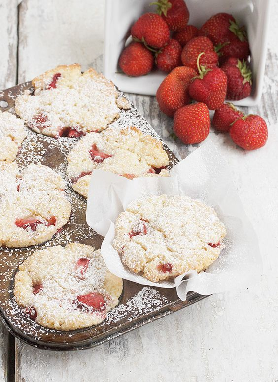 Strawberry Shortcake Muffins by seasonsandsuppers #Muffins #Strawberry