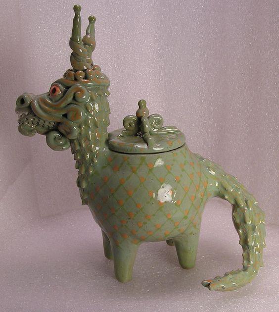 Celadon Dragon Folk Pot – Animal Face Jug – Spice Jar – Effigy Jar Herbal Caddy | eBay