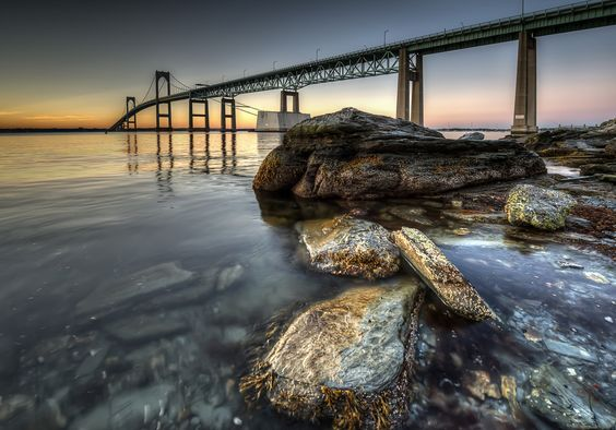 A Great Image by Dmitrii Lezine - wordpress blog (places unknown) - Newport Bridge in RI