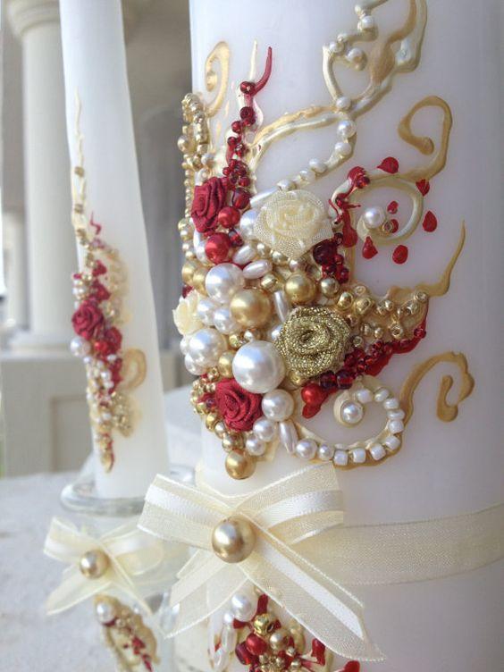 Wonderful Wedding unity candle set in ivory gold by PureBeautyArt