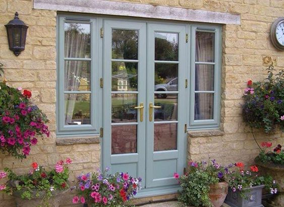 Heritage green windows aluminium google search for French doors exterior upvc
