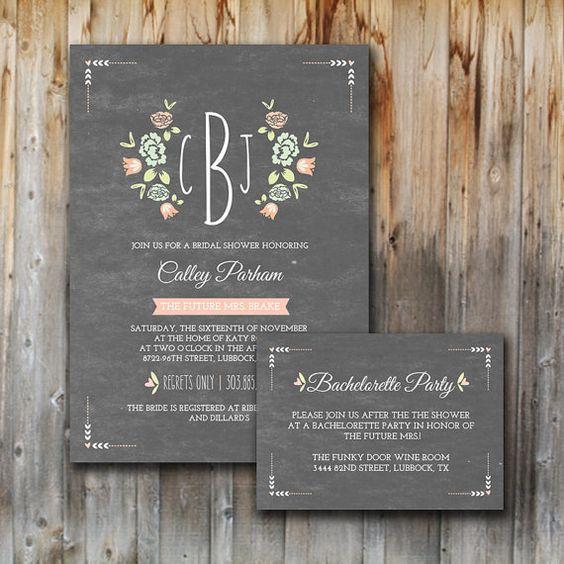 Monogram Bridal Shower Invitations, Printable, Insert