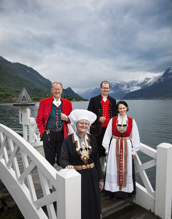 The fourth and fifth generation Utne Family, who own and run the Hotel Ullensvang; Edmund Harris Utne & Ina Utne (4th generation) and Hans Edmund Utne & Barbara Zanoni Utne (5th generation). (Picture from summer 2013)