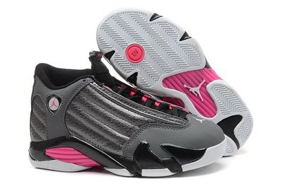 Air Jordan 14 Metallic Dark Grey Hyper Pink Black White Women