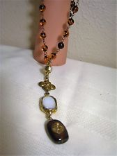 FABULOUS VINTAGE AUTHENTIC CHANEL TORTOISE RESIN BEADED HANGING PENDANT NECKLACE